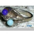 Sterling Lapis and Turquoise RING Hermann Siersbol Danish