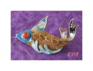 Asian Oriental Koi FISH Brooch Pin Sterling Filigree Enamel