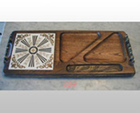 Serving Tray Wood Retro Cheese Coldcut Crackers  Tile