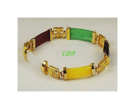 Jade Multi-Color Link Bracelet  Asian Oriental