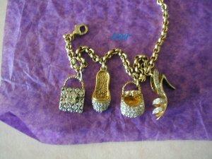 Sterling Italian Shoe Purse Charm Bracelet 18Kt Vermeil Charms CZ