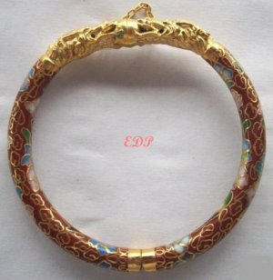 Golden Dragon Hinged Cloisonne Bangle Bracelet Enamel