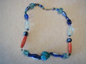 Enamel Turquoise Fish Glass Porcelain Bead Necklace