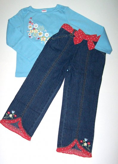 Gymboree WISH YOU WERE HERE Top/Tee Cropped Jeans 4T/4 NEW