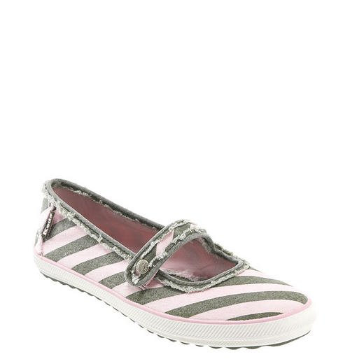 KED'S Striped Canvas Mary Janes/Ballet Flats Womens Sz. 9