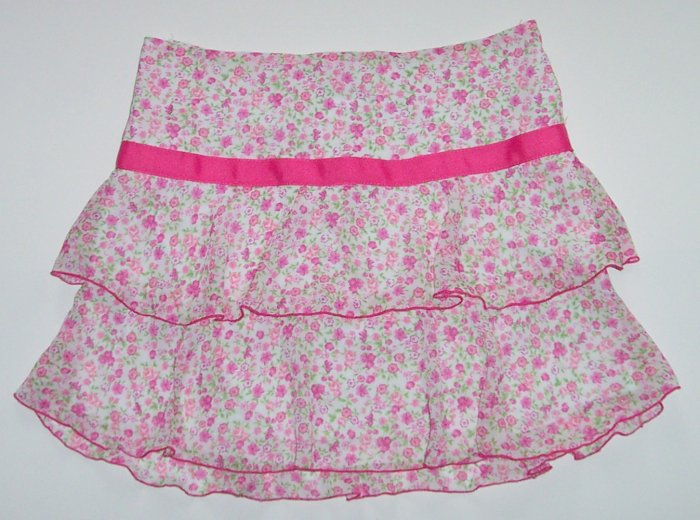 SPEECHLESS Pink Flowered Tiered Short Skirt Girls Lg.