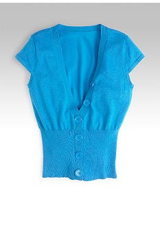 LIV Teal S/S Cropped Cardigan Jr. Girls Small