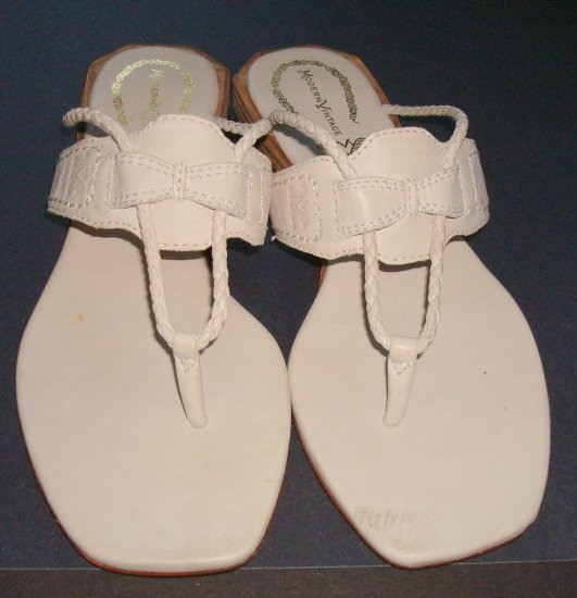 MODERN VINTAGE Ivory Leather Sandals/Thongs W6.5~Euro 36.5