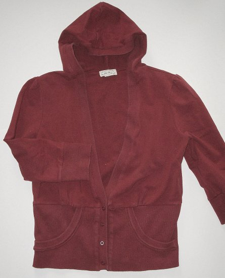 BLU CHIC Burgundy Hooded Top/Sweater/Jacket Junior Girls Sz. Large