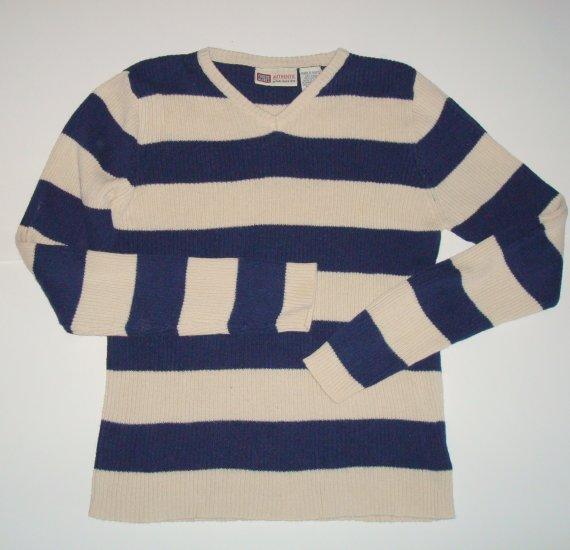 FADED GLORY Navy/Beige Stripe Ribbed V-Neck Sweater Girls 10/12