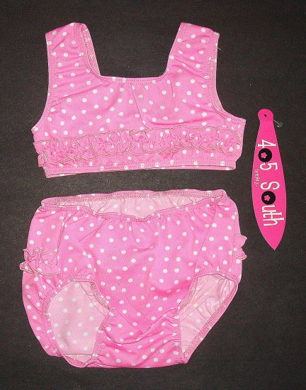 405 SOUTH by ANITA G. Pink Polka Dot Swimsuit 24 Mos.