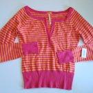 AEROPOSTALE Cropped Orange/Fushia Striped Sweater Junior Med.