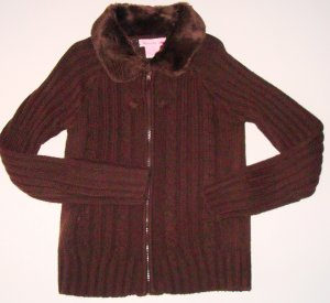 SPUNKY Brown Zip Front Cardigan Fur Collar Girls Sz. M