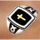 Mens Cross Ring, w/ 14K Inlay