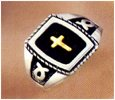Mens Cross Ring, w/ 14K Inlay