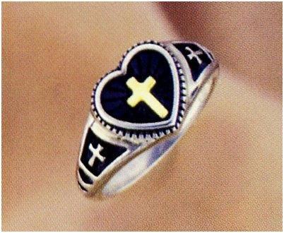 Ladies Cross Ring w/ 14K Inlay