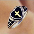 Ladies Cross Ring w/ 14K Inlay
