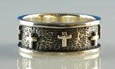 Mens Cross Band Ring