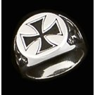 Men's Silver Maltese Antiqued Cross Ring