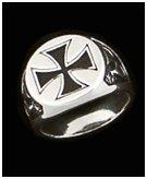 Men's Silver Maltese Antiqued Cross Ring