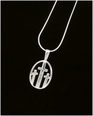 3 Crosses Silver Charm