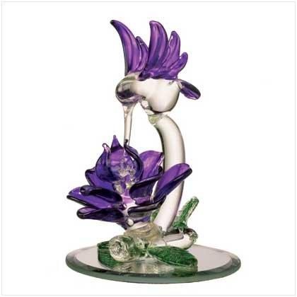 GLASS HUMMINGBIRD & PURPLE FLOWER