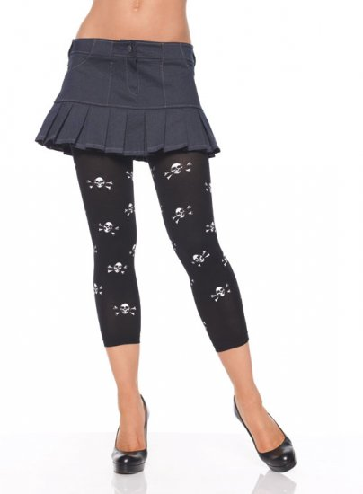 Leg Avenue Opaque Footless Tights w/ Skull Prints Black
