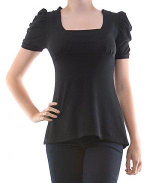 VELMA Faux Layered Puff Sleeve Shirt Black Sz Large
