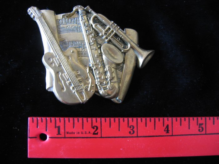 Vintage Jazz Blues Instruments Solid Brass Belt Buckle