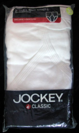 3 Pair Classic Jockey Y-Front Full Rise Briefs S 30 W