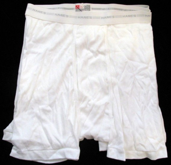 *1 Pack (3 Pair) Hanes White Boxer Briefs with Discontinued White Waistband 28-30
