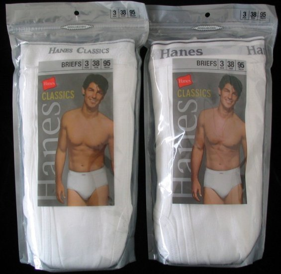 *DISCONTINUED Hanes Classics White Briefs 38 6 Pair