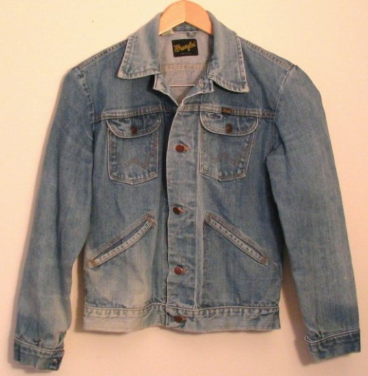 *Mens Vintage Wrangler Western Unlined Denim Jean Jacket USA 40 Long
