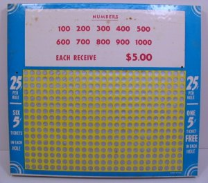 Vintage 25 cent 400 hole Punchboard NEW USA