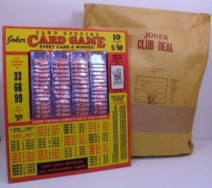"Vintage 10 cent or 5/.50 "" Joker Card Game "" Jar Ticket Board NEW USA"