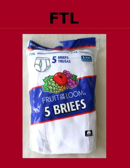 *1 Pkg 5 Pair Discontinued Fruit of the Loom Briefs Large 38-40