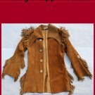 Men's Vintage Handmade Hippie Mountain Man Suede Leather Jacket Coat USA