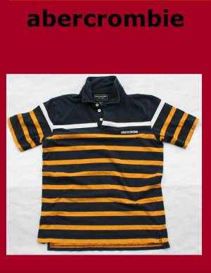Used Boy&#039;s XL abercrombie Polo Shirt Blue Yellow White Stripe