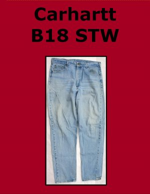Used Carhartt B18 STW Men�s Traditional Fit Work Jean 36 x 30 USA