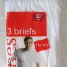 "*1 Pack (3 Pair) Hanes White Briefs with Discontinued Grey Waistband Size 28"" - 70cm"