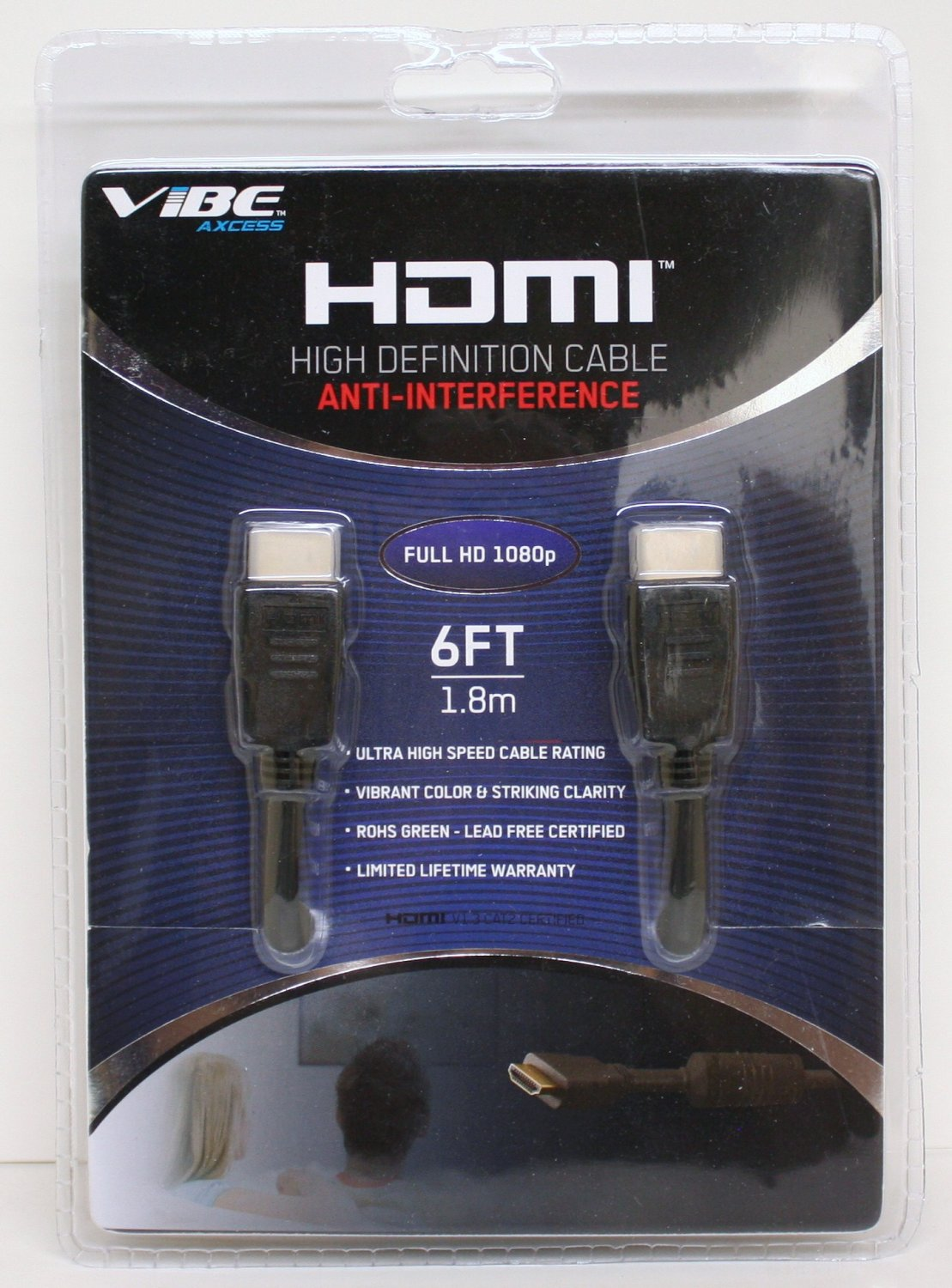 6' v1.3 VIBE HDMI Video/Audio Cable w/Gold-Plated Connectors