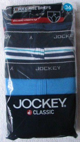 3 Pair Classic Jockey Y-Front Full Rise Briefs XL 44 Blue Striped