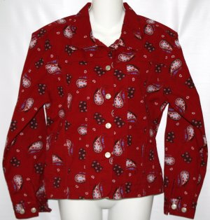 Women's Cabela's Western Red Paisly Unlined Jacket S Regular