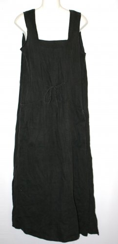 Vintage FLAX by Jeanne Englehart Jumper dress black linen S