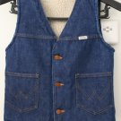 Vintage 70&#39;s Western Wrangler No-Fault Sherpa Lined SANFOR-SET Denim Vest USA Small