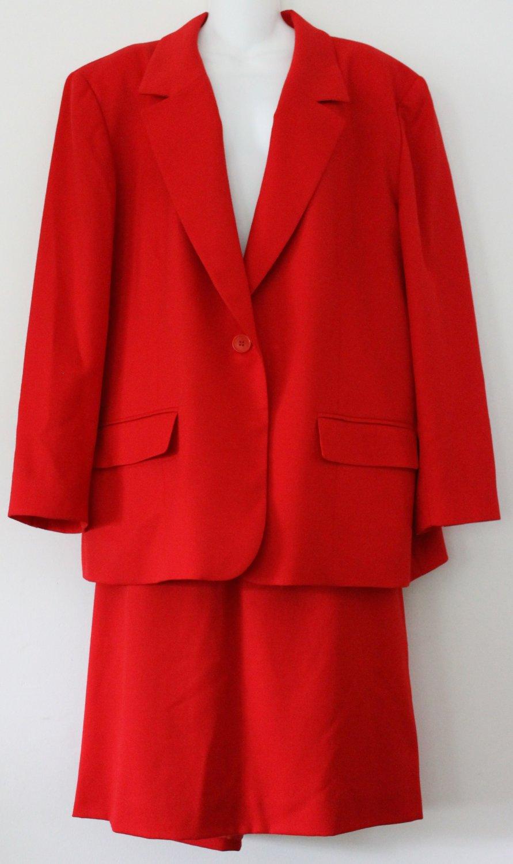 Vintage Pendletom Women's 18 Red Wool Jacket Suit Skirt USA