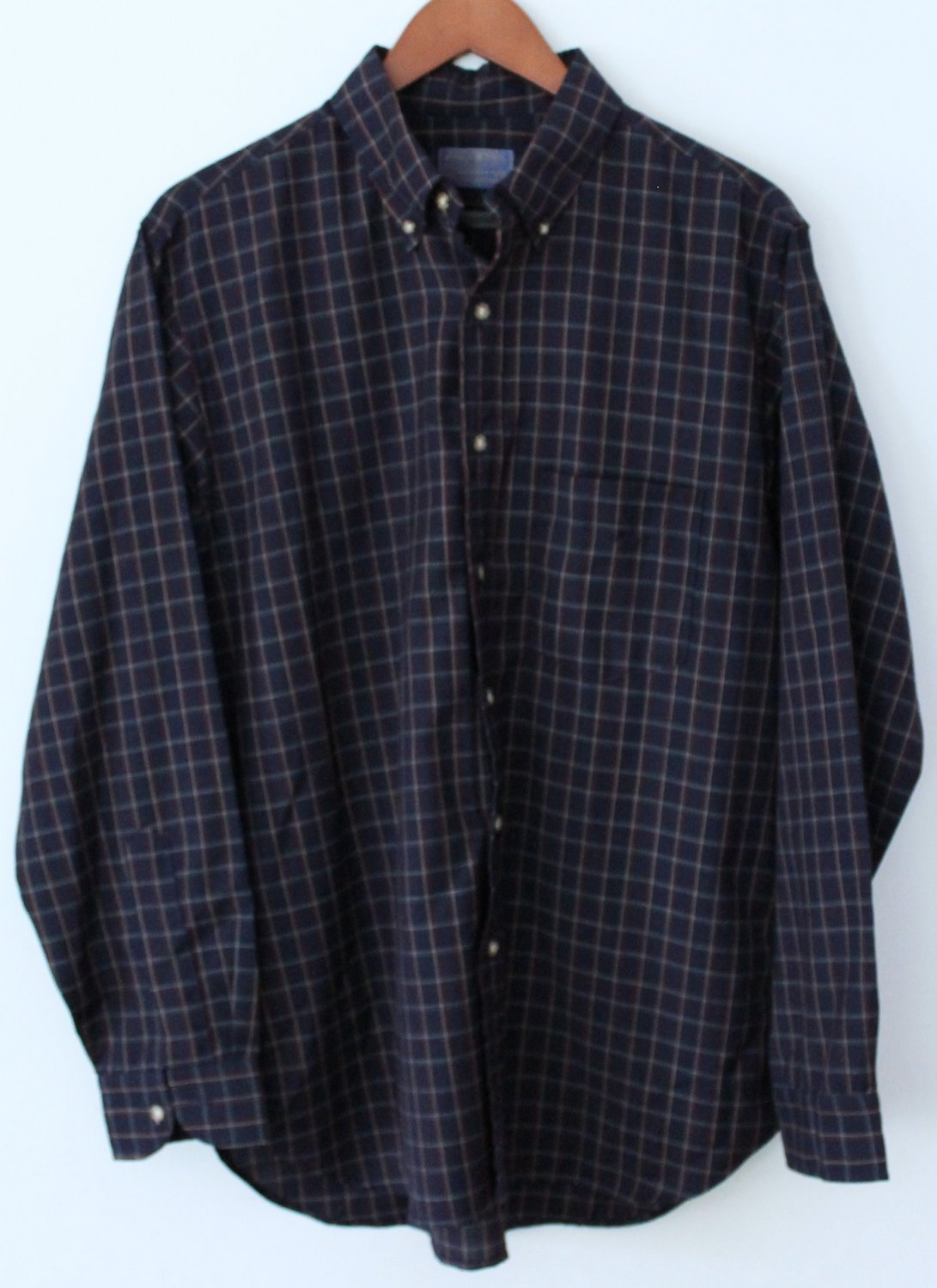 Vintage PENDLETON  Blue Plaid Wool Shirt Mens LG retro USA