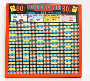 "Vintage 10 cent 1850 hole "" LU-LU BOARD"" Punchboard NEW OLD STOCK USA"