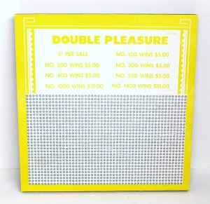 "Vintage ""8 ea"" 5 cent 1500 hole "" DOUBLE PLEASURE "" Punchboards NEW USA"