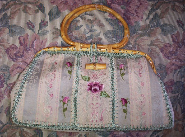 Cottage Chic  Handbag with Bambo Handles